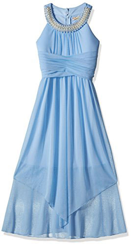 Speechless Big Girls Sheer Matte Jersey Beaded High Neck Maxi Dress