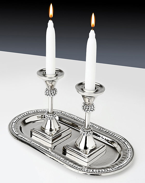 Stainless Steel Candlestick Set for Shabbat with Matching Oval Tray