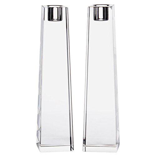 Stunning Obelisk Clear Crystal Shabbat Candlesticks