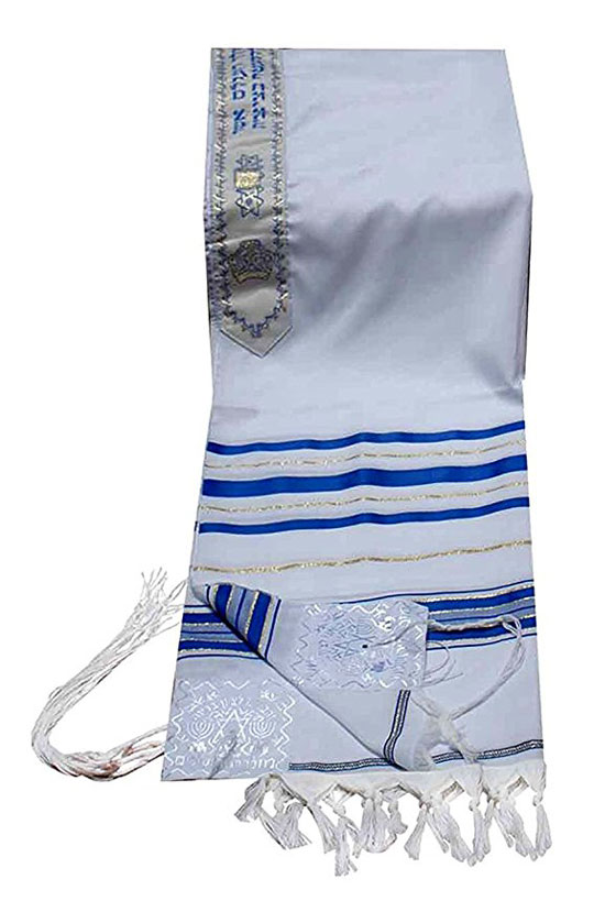 Tallis Prayer Shawl 24/72 Blue & Silver or Blue & Gold (Imported from Israel)