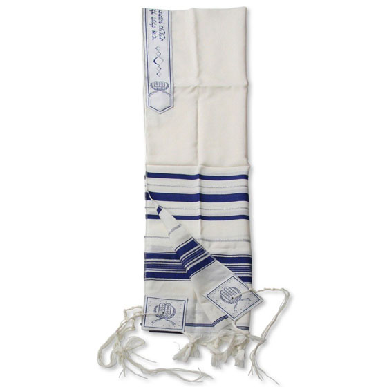 Traditional Pure Wool Tallit. Blue with silver stripes