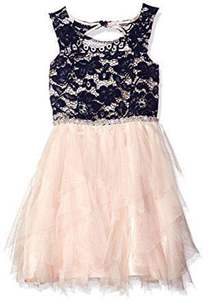 Tween Diva Big Girls Lace Bodice To Mesh Cascade Dress