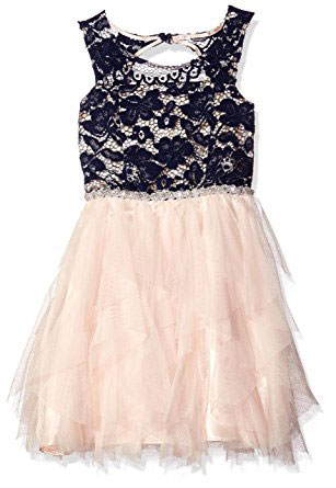 Tween Diva Big Girls Lace Bodice To Mesh Cascade Dress