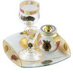 Unique Lily Art Glass appliqued 4 piece Havdalah Set