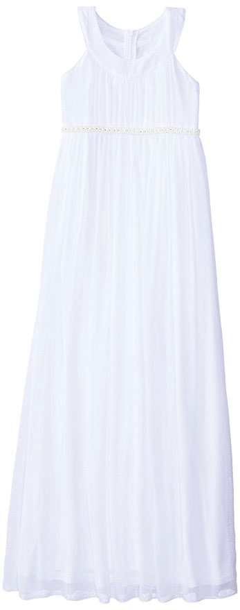 Us Angels Big Girls Crinkle Chiffon Floor Length Dress