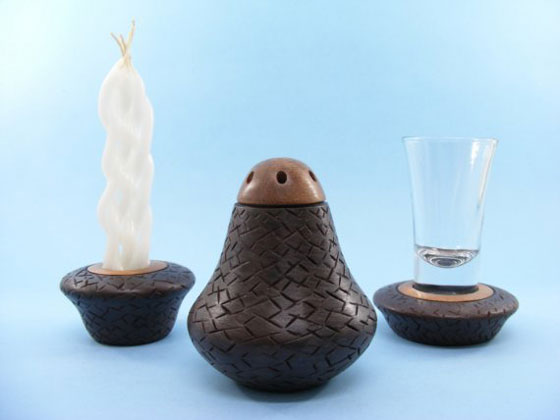 Wood & Glass Havdalah Set - Carved and Painted