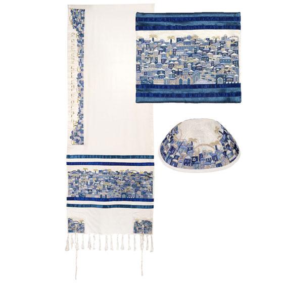 Yair Emanuel Fully Embroidered Cotton Jerusalem Tallit Set - Blue