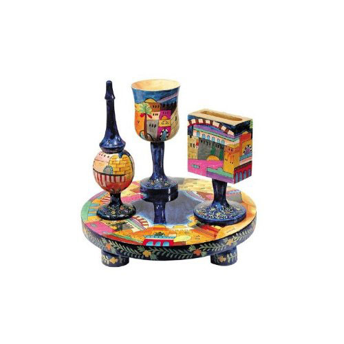 Yair Emanuel Painted Wood Havdalah Set with Jerusalem Design