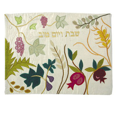 Yair Emanuel Raw Silk Challah Cover - 7 Species Gold