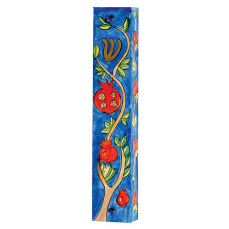 Yair Emanuel Small Wooden Mezuzah Pomegranate Branches