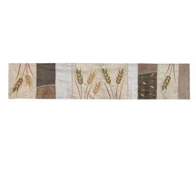Yair Emanuel Wheat Sheaves Silk Table Runner Brown