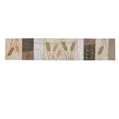 Yair Emanuel Wheat Sheaves Silk Table Runner Brown