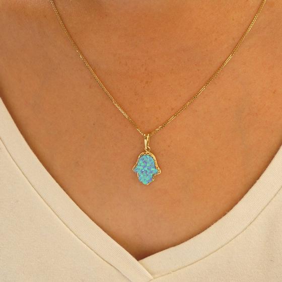 14k Gold Blue Opal Hamsa Pendant