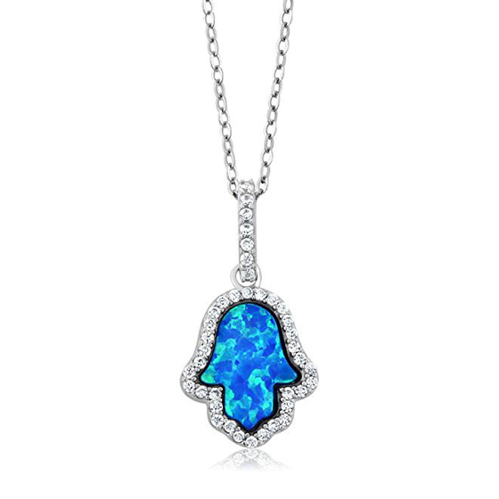 925 Sterling Silver Hand Of Hamsa Created Blue Opal Pendant + Sterling Silver Chain