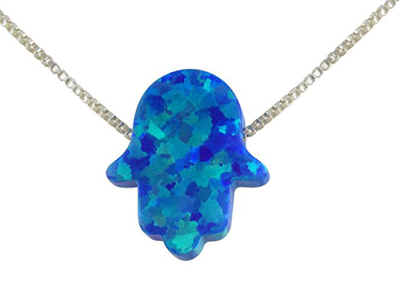Blue Created Opal Hamsa Hand Pendant Necklace With Sterling Silver Chain
