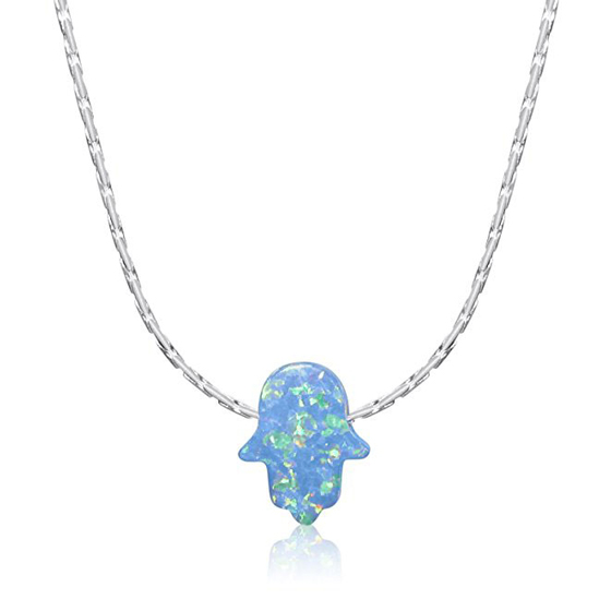 Blue Opal Hamsa Hand Necklace Yellow Rose Gold Plated Sterling Silver
