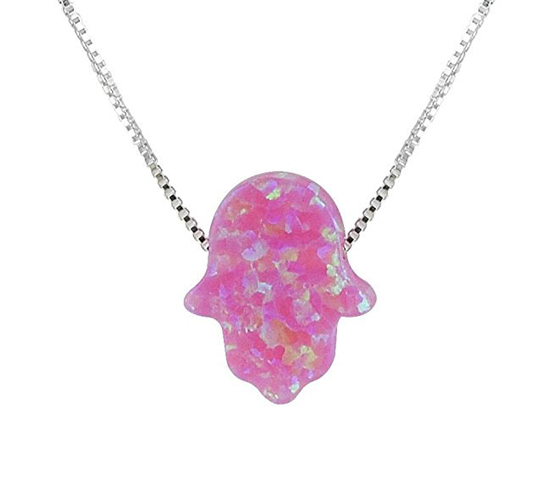 Created Fire Opal Hamsa Hand Necklace Pink Opal Pendant With Sterling Silver Box Chain