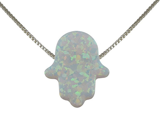 Created Fire Opal Hamsa Hand Necklace White Opal Pendant Sterling Silver Box Chain