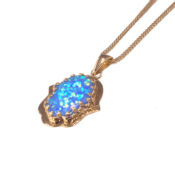 Opal Hamsa Pendant Holy Land Jewelry