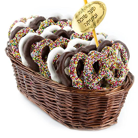 Rosh Hashanah Chocolate Pretzel Gift Basket