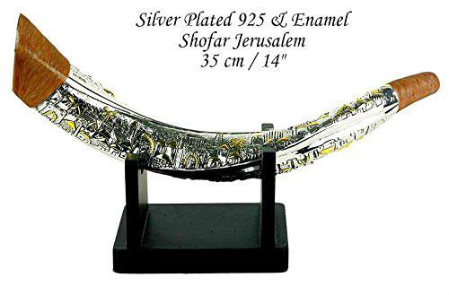 Silver Plated Giant Shofar Gold Jerusalem Enamel + Stand