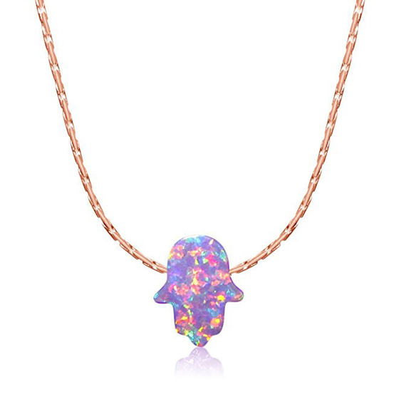 Simulated Purple Opal Hamsa Necklace Yellow Rose Gold Plated Sterling Silver