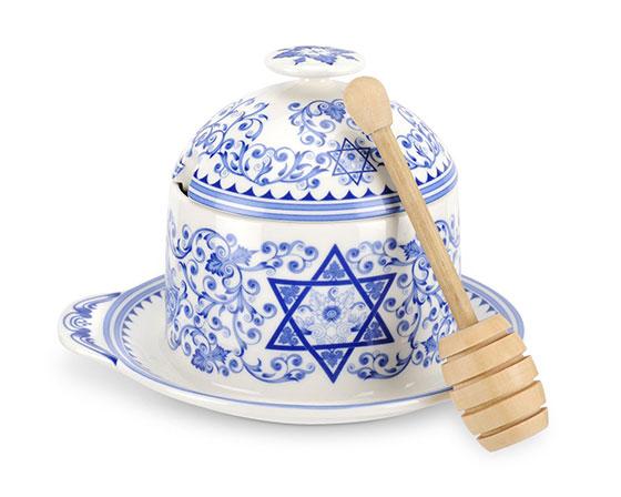 Spode Judaica Honey Pot
