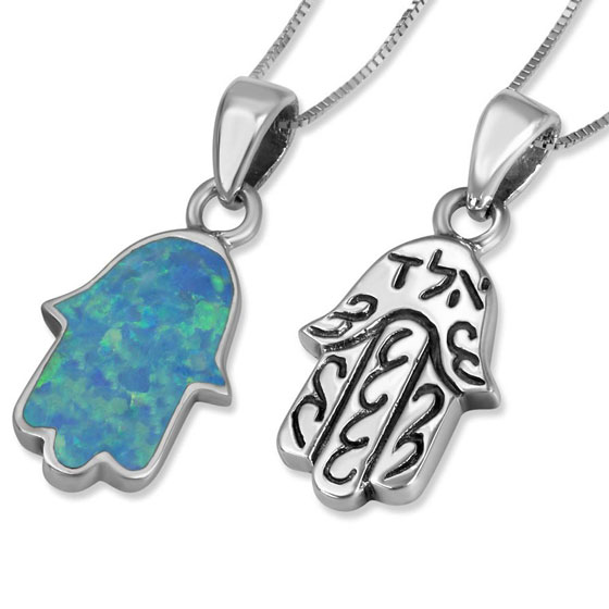 Sterling Silver Double Sided Hamsa Necklace With Opal