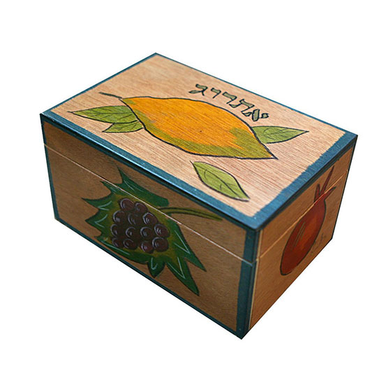 Sukkot Etrog Case Brown Wood With Colorful Design Made In Israel