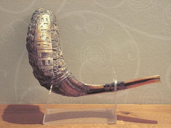 Vintage Jerusalem Silver Plated Rams Horn Shofar