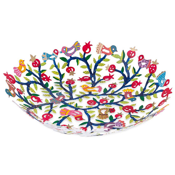 Yair Emanuel Hand Painted Laser Cut Bowl Birds And Pomegranates