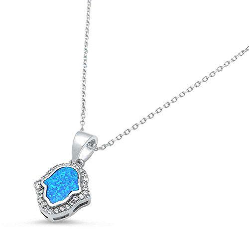925 Sterling Silver Lab Created Blue Opal Cubic Zirconia Hamsa Symbol