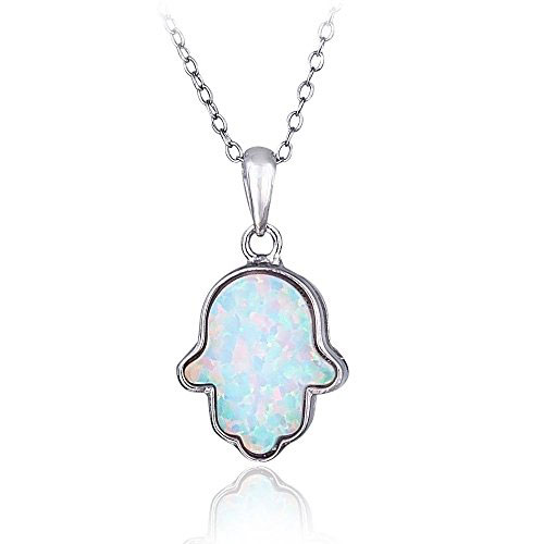 Bria Lou 925 Sterling Silver Created Blue Or White Opal Hamsa Pendant Necklace
