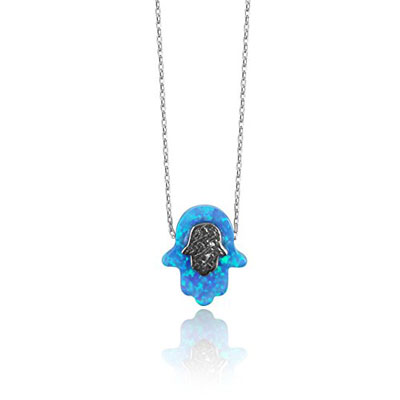 Handmade Sterling Silver Blue Opal Hamsa Necklace