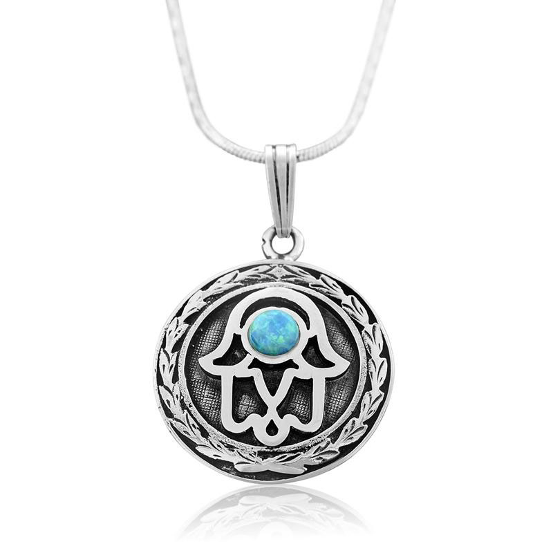 Sterling Silver Hamsa Necklace With Opal Stone