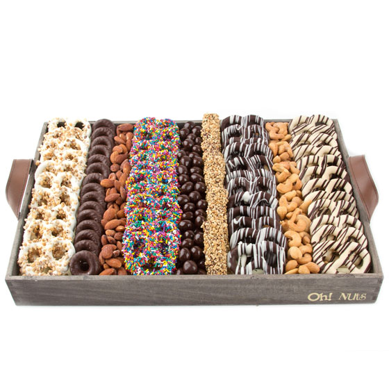 Wooden Nuts Chocolates Pretzels Line Up Gift Basket