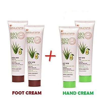 Dead Sea Minerals Bio Spa Avocado X2 Foot Cream & X2 Hand Cream