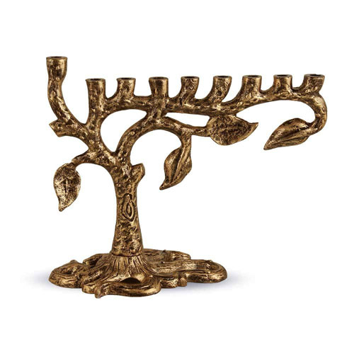 Antique Gold Artistic Tree Of Life Menorah