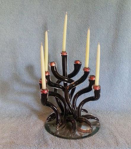 Art Glass Hanukkah Menorah Blown Glass