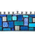 Blue & White Western Wall/Kotel Glass Menorah (Handcrafted)