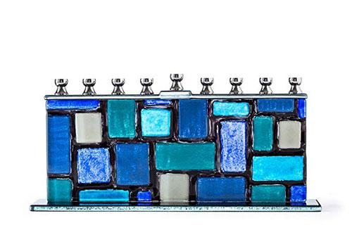 Blue White Western Wall Kotel Glass Menorah Handcrafted