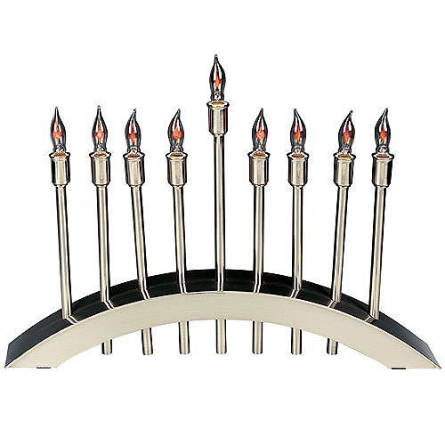 Brushed Stainless Steel Electric Menorah
