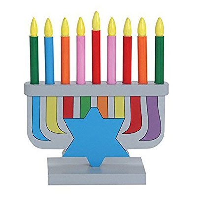 Childrens Wooden Chanukah Menorah With Removable Candles