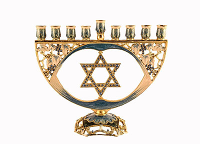 Ciel Collectables Decorative Menorah With Star Of David Hand Painted Swarovski Crystal