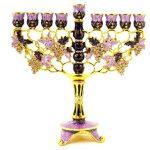 Ciel Collectables Floral Menorah Hand Painted Swarovski Crystal
