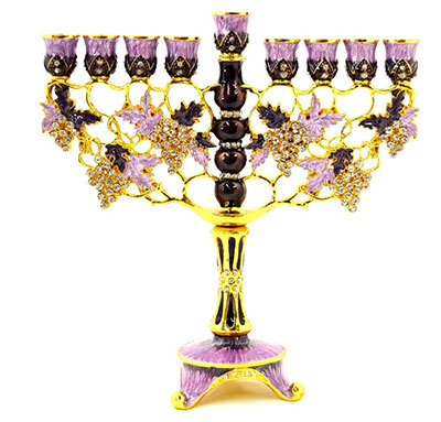 Ciel Collectables Floral Menorah Hand Painted Swarovski Crystal