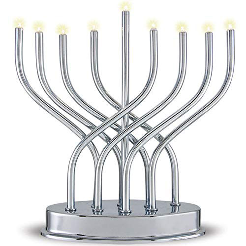 Contemporary Metal Led Battery Menorah
