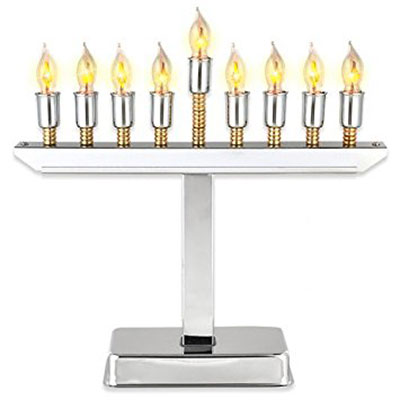 El Menorah Polished Chrome Plated Electric Menorah Gold Accents