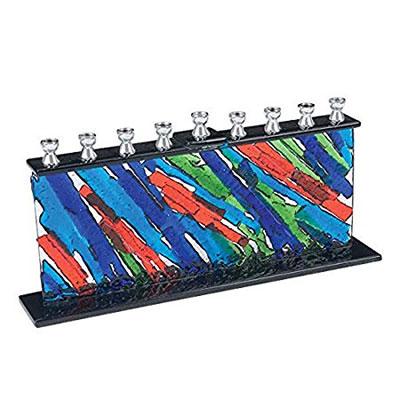 Elegant Multi Color Fused Glass Hanukkah Menorah