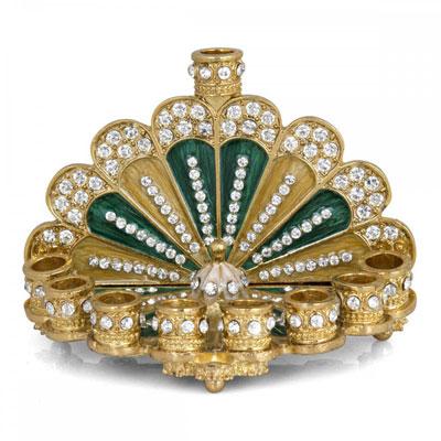Enameled And Jeweled Miniature Menorah Sunrise Green And Gold
